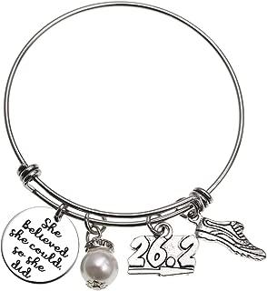 Marathon Gift Jewelry 26.2 Bracelet She Believed She Could So She Did Marathon Bracelet Bangle Running Gift