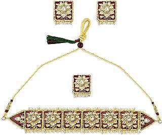 Zaveri Pearls Red Meenakari Ethnic Kundan Choker Necklace Earring & Ring Set For Women-ZPFK10790
