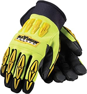 Maximum Safety 120-4000/S Mad Max Professional Workmans Gloves with Black Reinforced Synthetic Leather Palm, Lime Yellow/Black, Small