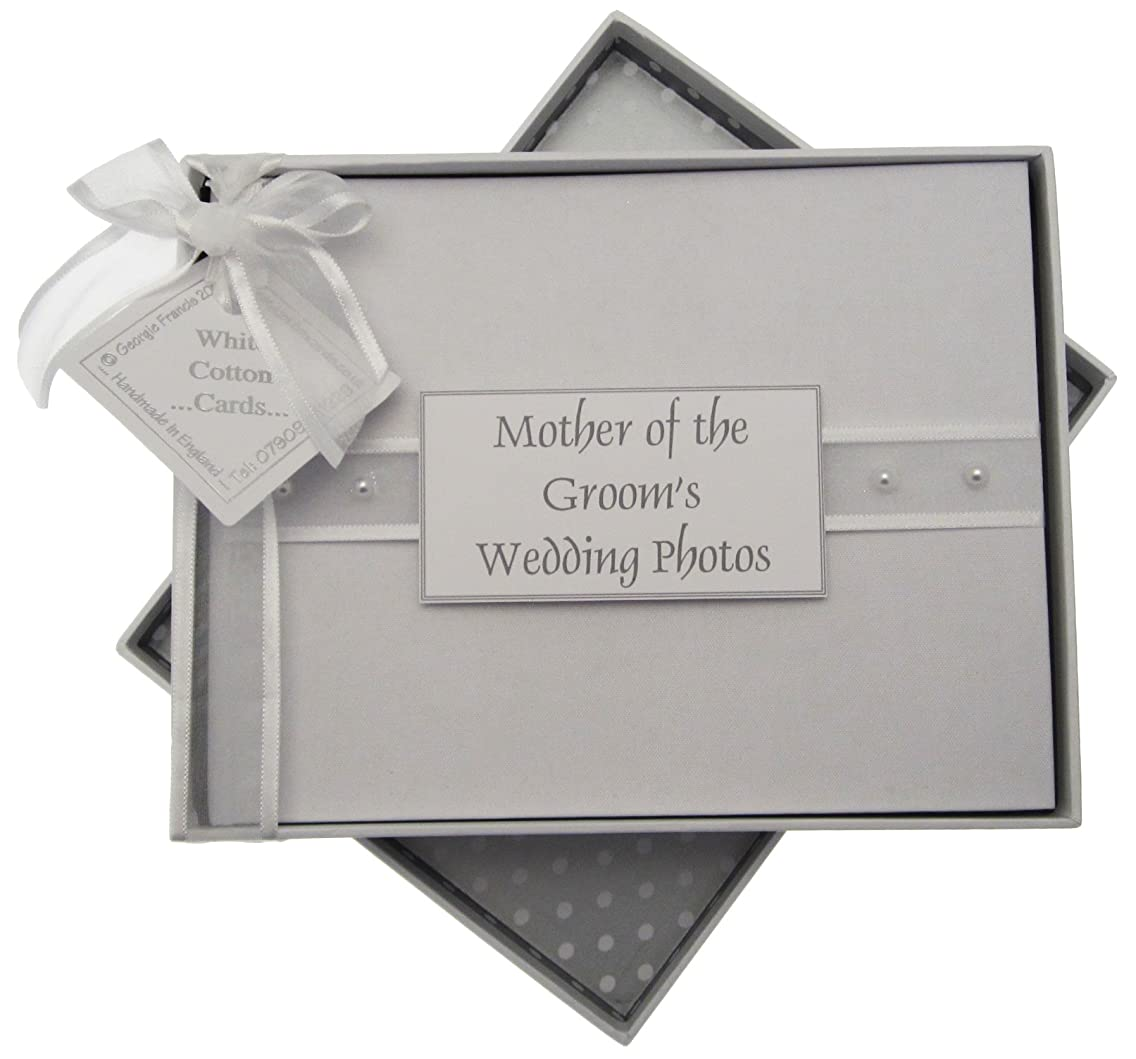 White Cotton Cards Mother of The Groom Photo Album, Small, Pearls