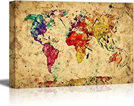 wall26 Vintage World Map Colorful Paint Watercolor Retro Style Expression on Grunge Old Paper - Canvas Art Wall Decor - 16