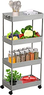 Newox Storage Organizer Rack Gap Storage Shelf with Wheels Slide-Out Slim Storage Cart Mobile Shelving Unit Rolling Storag...