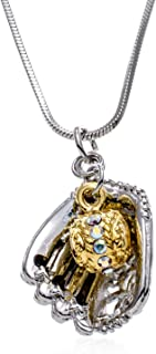 PammyJ Two Tone Baseball Glove and Ball Necklace, 17.5
