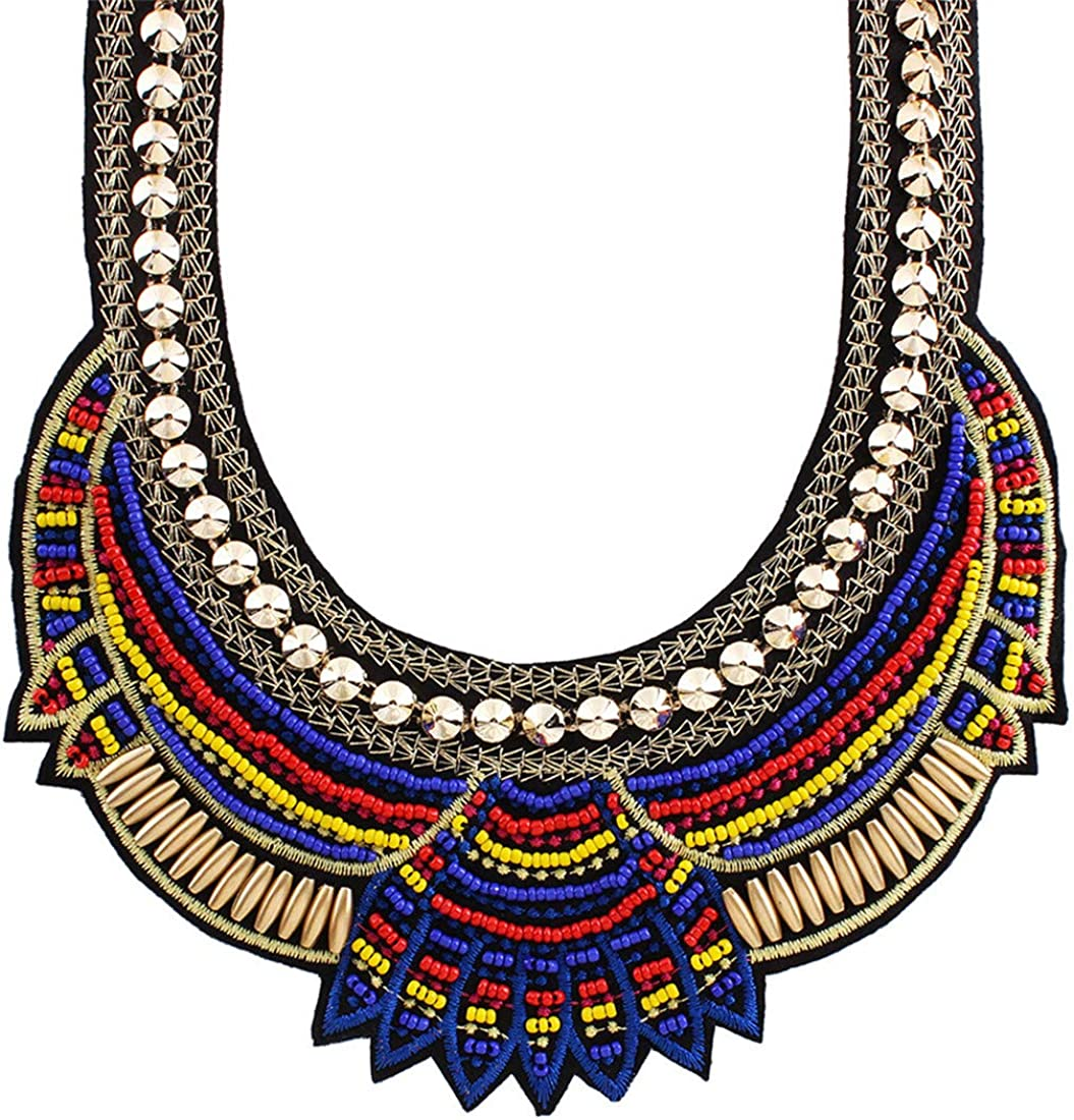 Ethnic Style Multiple Millet Beads Chunky Chain Bib Statement Choker Collar Necklace for Women