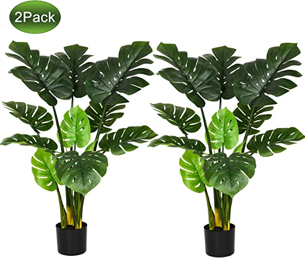 Woooow 2pc Artificial Monstera Deliciosa Plant 43 Fake Tropical Palm Tree Perfect Faux Swiss Cheese Plant For Home Garden Office Store Decoration