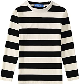 Big Boys' Cotton Crew Neck Casual Long Sleeves Stripe T-Shirt