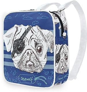 DEZIRO Mochila de hombro ilustración de perro carlino pirata mochila escolar