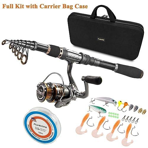 cf559b1f3c2 PLUSINNO Telescopic Fishing Rod and Reel Combos Full Kit, Spinning Fishing  Gear Organizer Pole Sets