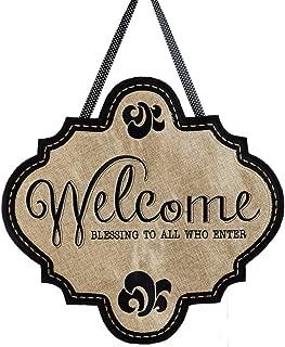 "Evergreen Flag Welcome Blessings Hanging Outdoor-Safe Burlap Door Décor - 18.8""W x 19.8""H"