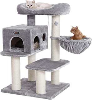 FEANDREA Cat Tree, Cat Tower with XXL Plush Perch, Basket Lounger Cat Condo with Adjustable Units, Cat Toys, Extra Thick Posts Completely Wrapped in Sisal