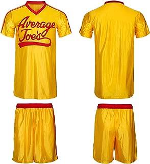 WeixinyuanST Dodgeball Joe's Yellow Jersey & Shorts Adult Men Average Gym Halloween Costume Set