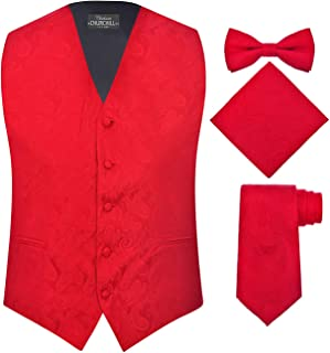 Men's 4 Piece Paisley Vest Set, with Bow Tie, Neck Tie & Pocket Hanky