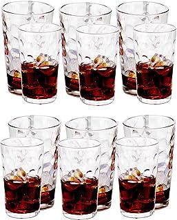 Amlong Crystal Harmony Drinking Glasses Set of 12 pieces, (6 X 12oz, 6 X 16oz)