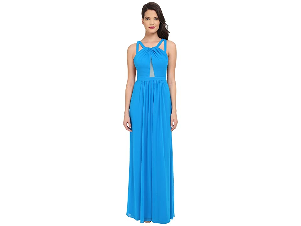Faviana Mesh Gown with Illusion Center Front 7741 (Laguna Blue) Women