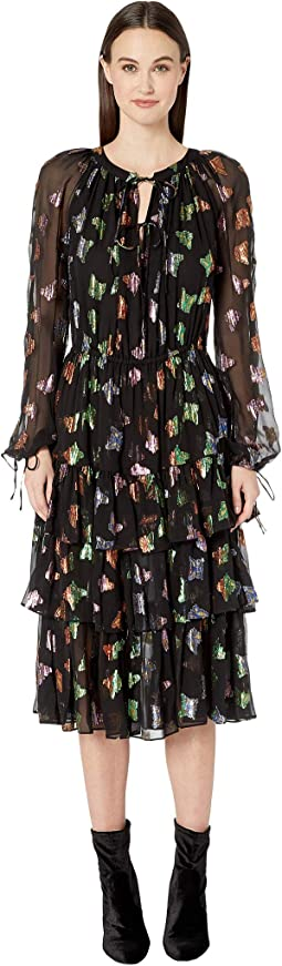 Lurex Butterfly Print Dress