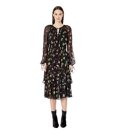 The Kooples Lurex Butterfly Print Dress (Multicolor) Women