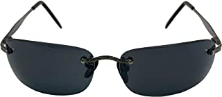 Secret Agent Sunglasses | Rimless Matrix Smith Brown Jones | Rectangle Dark Lens