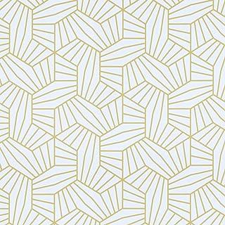 "HeloHo White and Gold Wallpaper 118.11""x17.7"" Geometric Wallpaper Peel and Stick Wallpaper Self Adhesive Gold Shelf Drawer..."