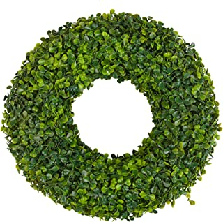 ATPWONZ 15 in. Front Door Wreath with Artificial Green Leaves, Boxwood Wreath Outdoor Green Wreath for Front Door Wall Window Party Church Wedding Farmhouse Christmas Décor