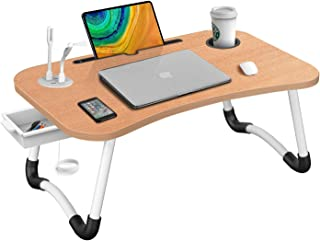 HLHome Laptop Bed Desk,Portable Foldable Laptop Tray Table with USB Charge Port/Cup Holder/Storage Drawer,for Bed /Couch /...