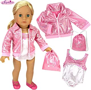 Sophia's Doll Clothing for 18 Inch Doll Gymnastics 3 Pc. Set Fits 18 Inch American Girl Doll Clothes & More! Pink Leotard, Jacket & Gym Bag in Pink