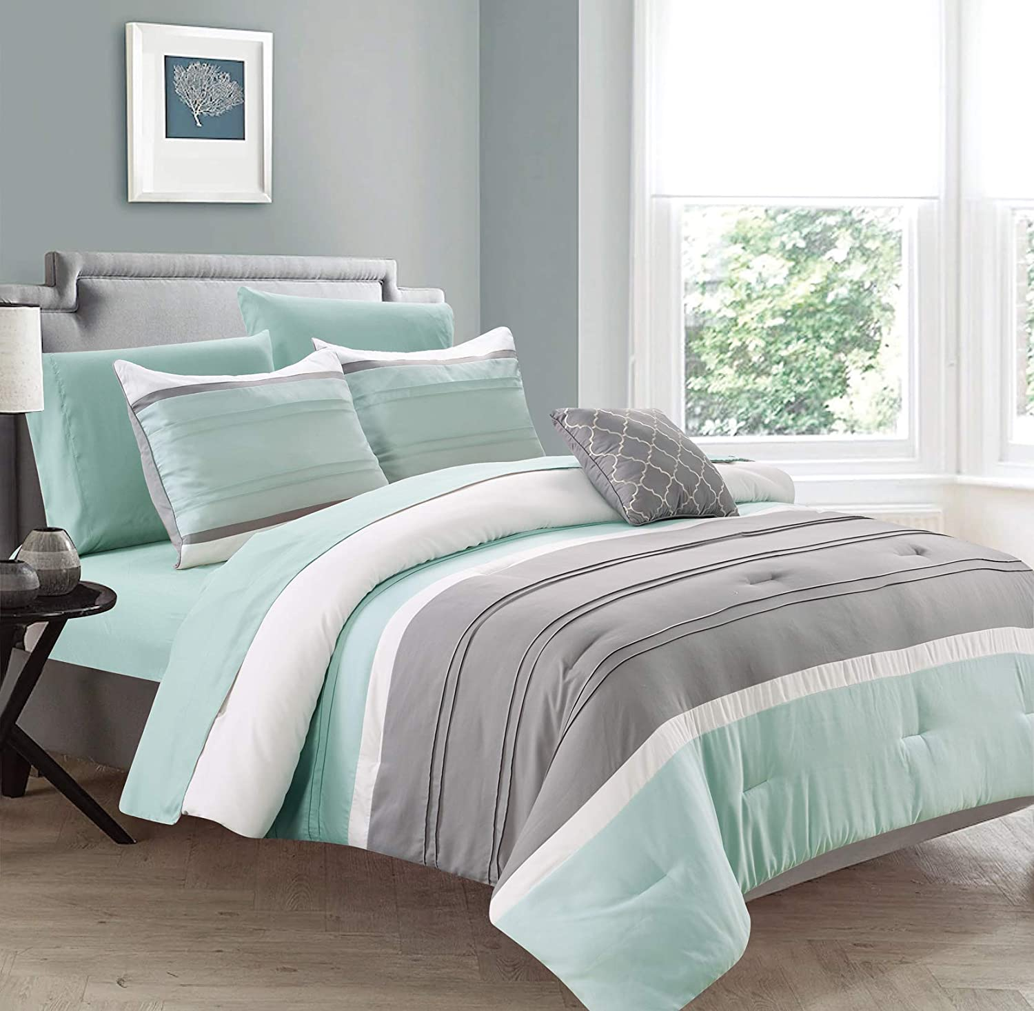 Sweet Home Collection Comforter 8 Piece Decorative Printed Soft and Luxurious Bedding with Sheet Set, Shams, and Decorative Pillow Queen New Haven-Mint