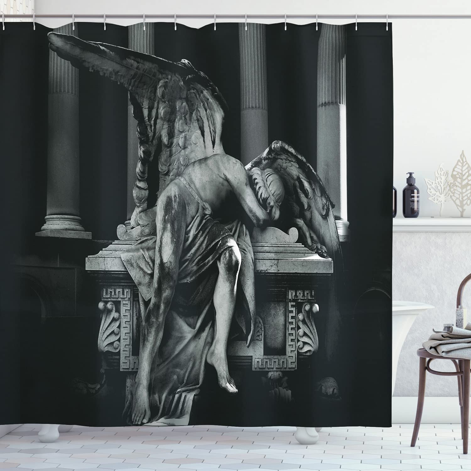 Ambesonne Retro Shower Mesa Mall Curtain Architecture Angel Manufacturer regenerated product Sad Monuments