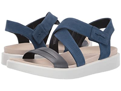 ECCO Flowt Cross Sandal (Marine/True Navy Cow Leather/Cow Nubuck) Women