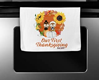 Our First Thanksgiving Establish 2019 Kitchen Towel 16x24 Inches Microfiber Fall Season Dishcloths Wedding Gift Pilgrim Owls