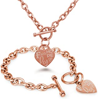 Tioneer Stainless Steel Faith Love Hope Engraved Heart Charm Bracelet and Necklace
