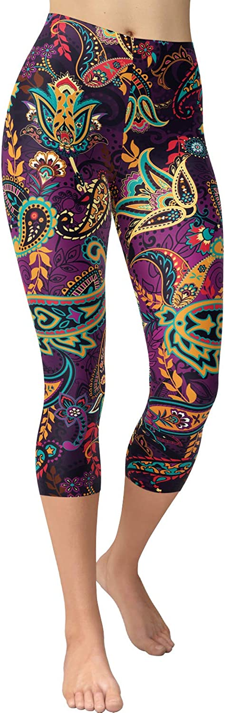 VIV Collection Women's High Waist Brushed Buttery Soft Print Fashion Capri Leggings List 1