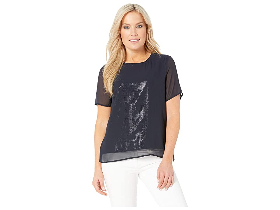 Vince Camuto Specialty Size Petite Short Sleeve All Over Sequin Chiffon Overlay Tee (Classic Navy) Women