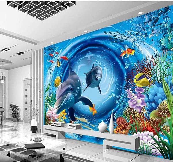 Mural Custom 3D Mural 3D Ocean Wallpaper Restaurant Theme Hotel Children Room Aquarium Bedroom Decoration Sea World Wallpaper Mural 450X300Cm