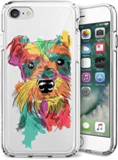 iPhone 7 8 Clear Case, Schnauzer Dog Art Soft Crystal Ultra-Thin Shock Absorption Protective Case for iPhone 7 8