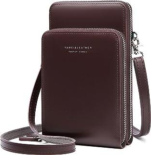 Damen Handytaschen Umhängetasche - Kleine Crossbody Geldbörse Brieftasche Schultertasche mit Kartenfächer Verstellbar Abne...