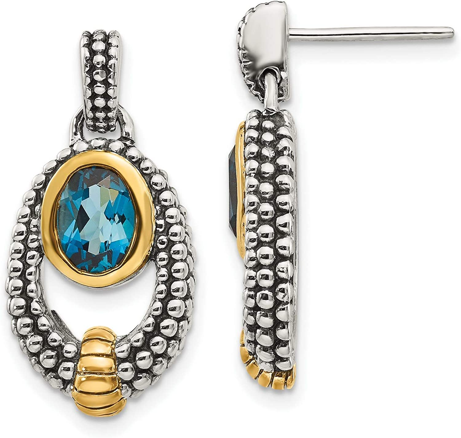 Sterling Ranking TOP5 Silver Gold Flash-plating London Blue Dangle Earr Topaz Indianapolis Mall