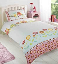 Owls Hoot Girls Reversible Double Bed Duvet Cover Quilt Linen Bedding Set Floral