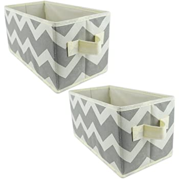 DII Woven Paper, Collapsible, Convenient Storage Bin For Office, Bedroom, Closet, Drawers Toys, Small, Gray Chevron - Set of 2
