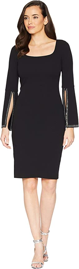 Dramatic Embellished Sleeve Sheath Dress
