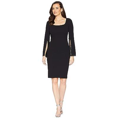 Calvin Klein Dramatic Embellished Sleeve Sheath Dress (Black) Women