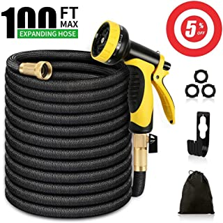 Azarton Garden Hose 100 ft, Expandable Water Hose, Durable 3750D Fabric 9-Layers Latex Core Solid Brass Fittings 10 Functions Spray Nozzle Lightweight Pocket Hose for Watering Lawn Yard Pets Car