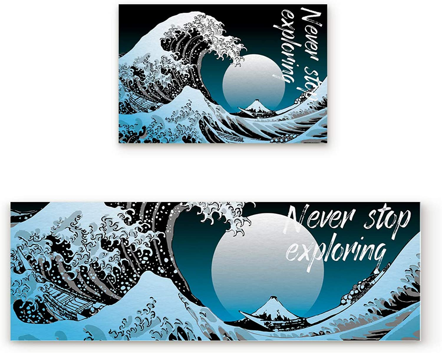 SODIKA Non Slip Kitchen Rug Set 2 Piece, Floor Mat Carpet Runner,Kanagawa Katsushika Hokusai Thirty-six Views Mount Fuji Never Stop Exploring (19.7x31.5in+19.7x63 inches)