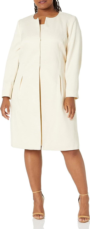 Le Suit Women's Shimmer Jacquard Jewel Neck Seamed Topper Dress
