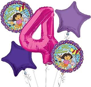 Dora the Explorer Balloon Bouquet 4th Birthday 5 pcs - Party Supplies