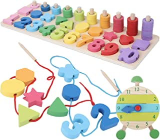 Montessori Fine Motor Skill Toys - Math Wooden Number Shape Set with Learning Clock and Lacing Beads Montessori Toy for To...