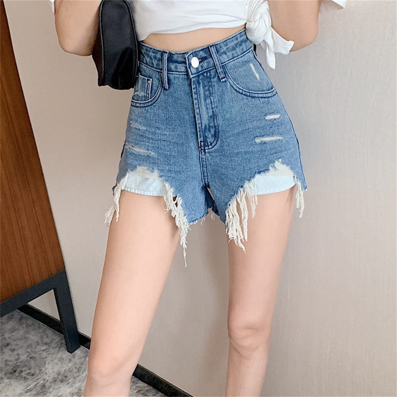 Irregular Frayed Jean Shorts for Women Cut Off Raw Hem Casual Short Jeans Fashion Summer High Waist Denim Shorts (Blue,Small)