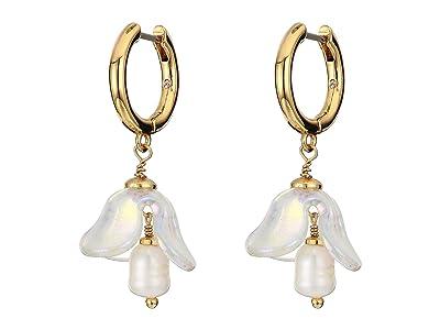 Kate Spade New York Painted Petal Huggies Earrings (Cream Multi) Earring