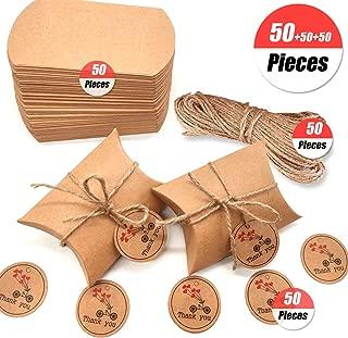 Caja de regalo Candy de papel Kraft, caja de almohadas para bodas, fiestas de cumpleaños, 50 unidades, Pillow Shape,Vintage papel kraft natural almohada cajas de boda Candy, Boda Favor Fiesta