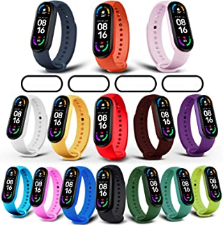 Milomdoi [19 eenheden] 15 kleurrijke armband + 4 stuks beschermfolie voor Xiaomi Mi Band 6/Mi Band 5, sport reserveband ho...