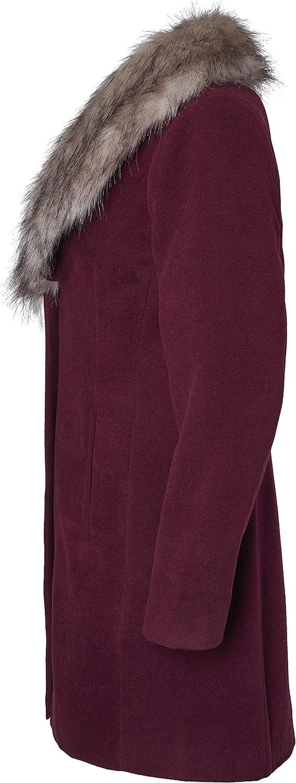 Sportoli Coats for Women Faux Wool Single Breasted Winter Jacket with Detachable Fur